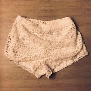 Hollister White Knit Pattern Shorts